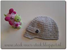 Het is soms best lastig om   leuke patroontjes te vinden   voor een mutsje voor babyjongetjes.   Ik vond er eentje hier:        De ... Crochet Baby, Knit Crochet, Head Wraps, Knitting, Beanies, Crocheting, Tejidos, Amigurumi, Crochet