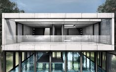 Glass-encased swimming pool divides this concept home. The designer of the cliff-hanging Casa Brutale has unveiled his latest luxury home proposal and this one is similarly ambitious. Envisioned for a pine forest in the Netherlands. Not practical, but interesting to look at. #Architecture