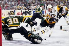 """Mario Lemieux, in the immortal words of Penguins' broadcaster Mike Lange, """"beat Casey like a rented mule"""" with one of most dazzling goals in Stanley Cup history during Game 2 on May 1991 in Pittsburgh. A Rookie of the Year, six-time NHL scoring. Pittsburgh Sports, Pittsburgh Penguins Hockey, Minnesota North Stars, Mario Lemieux, Lets Go Pens, Penguin Party, Stanley Cup Finals, Hockey Teams, Hockey Stuff"""