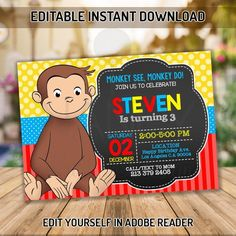 This item is unavailable Curious George Party, Curious George Birthday, Kids Birthday Party Invitations, Birthday Invitation Templates, Curious George Invitations, Photo Frame Prop, King Birthday, Personalized Invitations, First Birthdays