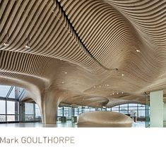 fully CNC milled wooden office interior, One Main (Cambridge). Mark Goulthorpe.