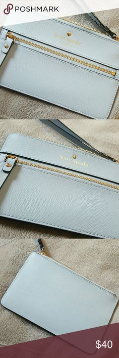 KS blue wristlet In perfect condition NWOT Brand new. Kate spade saffiano leather baby blue wristlet kate spade Bags Clutches & Wristlets