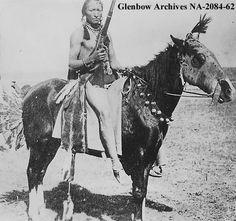 Title: Mounted Blackfoot man at Shaganappi Point, Calgary, Alberta.  Date: September 28, 1901
