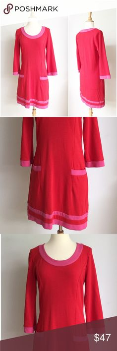⭐️Boden⭐️Pink & Red Dress Dress has been gently worn but in great condition. The bust measurement is approximately 18 inches across from armpit to armpit laying flat and the length is 36 inches. The waist measurement is approximately 16.5 inches across laying flat. The fabric content is 61% viscose 36% polyamide and 3% elastane. Boden Dresses Midi