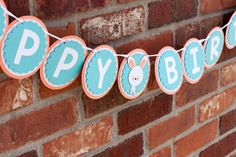 Hoppy Birthday Banner, Bunny Birthday Banner, Coral and Teal Birthday Banner - Rocky Mountain Mama on Etsy