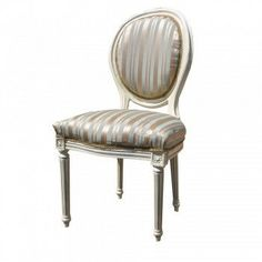 Black and cream French brochure chairs | Home Kandi Duck Egg Blue Cream Stripe French Louis Dining Chair