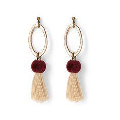 Humanity Sombrero II earrings ($32) ❤ liked on Polyvore featuring jewelry, earrings, pom pom jewelry, pom pom earrings, bronze earrings, oval earrings and earrings jewellery