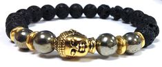 Black Lava, Pyrite, gemstones, Beaded, Bracelet, Gold Buddha for MEN