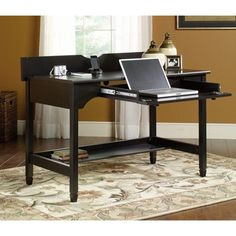 Edge Water Collection 46 in. W x 24 in. D x 29 in. H Writing Desk with Slide-Out Laptop Drawer in Estate Black