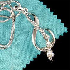 Treble g Clef Swarovski Crystal Musical MUSIC NOTE Pendant Charm Necklace Xmas on Etsy, $35.00