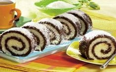 Coconut roulade- coconut roll Ingredients : grinded biscuits 2 spoons of cocoa sugar su. Czech Desserts, Romanian Desserts, Romanian Food, Czech Recipes, Tea Recipes, Sweet Recipes, Cooking Recipes, High Tea Food, Kolaci I Torte