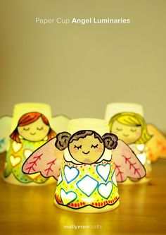Paper Cup Angel Luminaries. So simple, so sweet // mollymoocrafts.com