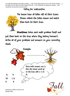 Cute subtraction game for fall!