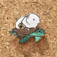 Mortimer Meets a Sea Turtle Limited Edition Enamel Guinea Pig Pin Jacket Pins, Hard Enamel Pin, Cool Pins, Pin And Patches, Pin Badges, Guinea Pigs, Lapel Pins, Pin Collection, Creations