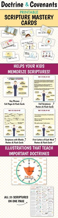 Awesome printable scripture mastery cards (D&C)! The illustrations really teach about the scriptures!