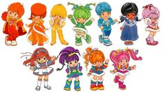 Rainbow Brite and Friends Clockwise from top left: Red Butler, Lala Orange, Canary Yellow, Patty O'Green, Buddy Blue, Indigo, ShyViolet,Moonglow,Stormy, Rainbow Brite, Stormy, and Tickled Pink