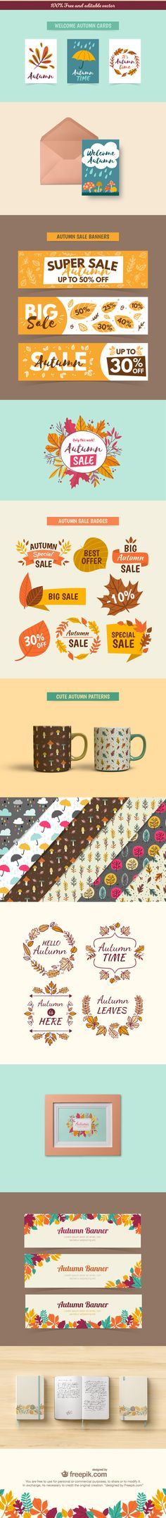 Free Download: Autumn Inspired Vectors (Cards, Banners, Badges, Patterns)