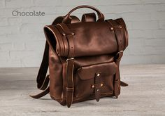 chocolate leather roll top backpack