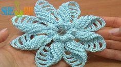Sheruknittingcom: Crochet Folded Petal Flower Popcorn Stitches Cente...