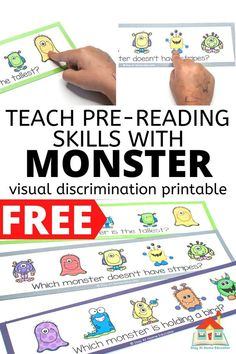 Teach pre-reading skills with free Monster visual discrimination printable for preschoolers Preschool Routine, Preschool Classroom, Pre Reading Activities, Preschool Activities, Good Adjectives, Vocabulary Building, Early Reading, Reading Skills, Literacy Centers