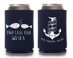 Custom Wedding Koozie ~ Nautical Wedding ~ Two less fish in the sea ~ Wedding Favor on Etsy, $85.00