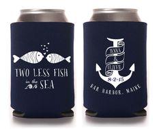 Custom Wedding Koozie ~ Nautical Wedding ~ Two less fish in the sea ~ Wedding Favor on Etsy, $85.00