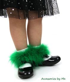 Frilly Green Marabou Socks Feather Trim Baby Girls Toddler Infant Children Accessory St. Patricks Day Dance Recital Party Pageant Occasions