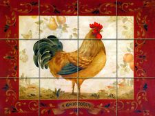 12.75 x 17 Art Mural Ceramic Rooster Border Backsplash Tile #322