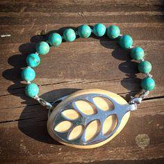 Turquoise Gemstone Bracelet for the Leaf by OmShanti1313 on Etsy