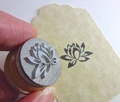 Lotus Small Rubber Stamp by etchythings on Etsy