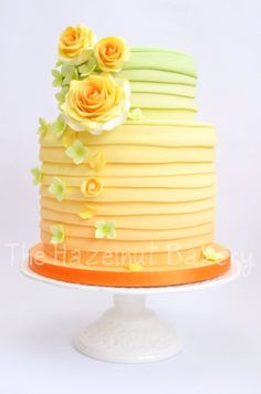 Citrus Ombre Wedding Cake Could Be Done In Tinted Buttercream Rather Than Fondant Layers Like This