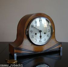 Antique Vintage British Smiths Enfield Chiming Mantel Clock 8 Day ART DECO 1930s