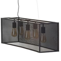 5 light bar pendant mesh shade detail