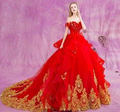 Cheap dress wedding gowns, Buy Quality wedding gowns directly from China brides dresses wedding Suppliers: Long 2016 Gothic Red Ball Gown Princess Wedding Dresses Gold Lace Luxury Crystal Off Shoulder Bridal Bride Dress Wedding Gowns Wedding Robe, Red Wedding Dresses, Princess Wedding Dresses, Cheap Wedding Dress, Wedding Gowns, Cheap Dress, Bridesmaid Dresses, Vintage Ball Gowns, Red Ball Gowns