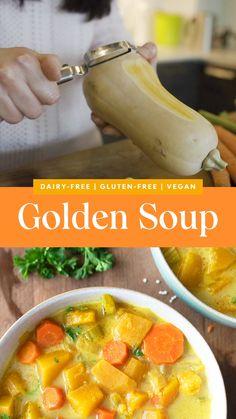 Whole Food Recipes, Diet Recipes, Vegan Recipes, Cooking Recipes, Nutritious Food Recipes, Health Soup Recipes, Healthy Recipes For Dinner, Vegetarian Recipes Dairy Free, Gluten Free Recipes Videos