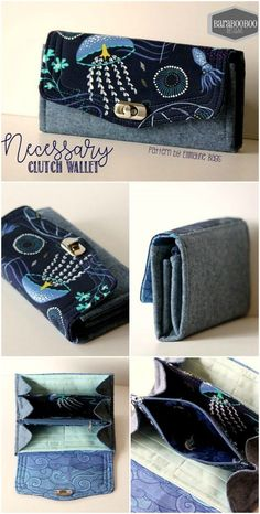Hands down the best wallet sewing pattern youll find. Sew Wallet, Fabric Wallet, Clutch Wallet, Diy Denim Wallet, Bag Patterns To Sew, Sewing Patterns, Sewing Designs, Wallet Sewing Pattern, Clutch Bag Pattern