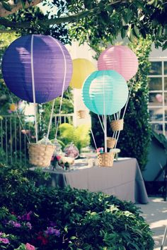 Hot Air Balloon Party Idea. Make paper lanterns into mini hot air balloons.
