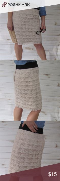 """H & M Champagne tiered-lace pencil skirt H & M Champagne tiered-lace pencil skirt features a black waist and, Covered rear zipper and hook-and-eye closure. Fully lined. EUC. No rips, stains, or pilling. Measurements are approximate, taken when garment is lying flat: Waist = 15.5"""" Hips = 18"""" Length = 21"""" H&M Skirts Pencil"""