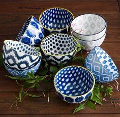 Indigo Ikat bowls - cute little set!