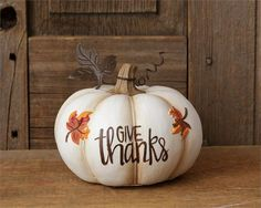 "White pumpkins are all the rage right now, and this one does not disappoint. In polyresin, this petite pumpkin entrances with the words ""Give Thanks. Pumpkin Art, Pumpkin Crafts, Fall Crafts, Holiday Crafts, Pumpkin Painting, Pumpkin Ideas, Pumpkin Contest, Diy Crafts, White Pumpkins"