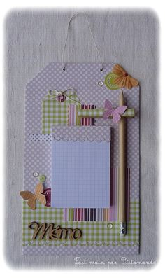 idea for a memo board: Diy And Crafts, Crafts For Kids, Paper Crafts, Diy Projects To Try, Craft Projects, Scrapbook Paper, Scrapbooking, Clipboard Crafts, Post It Note Holders