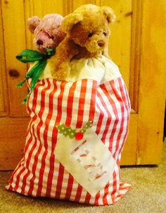 Santa sack from Betty's Buttons of Ventnor. Find me on Facebbok. £13. The size of a pillowcase.