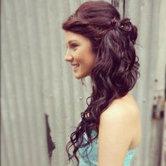 Pretty Long Brunette Homecoming and Prom Hairstyle