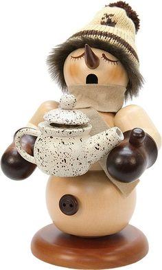 ChristianUlbricht Räuchermann Schneemann mit Nussknacker-Kaffeekanne natur