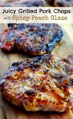 Juicy Grilled Pork Chops with Spicy Peach Glaze Grilling a quick and easy meal has never been so easy. These tender and Juicy Grilled Pork Chops with Spicy Peach Glaze come together quickly for. Meat Recipes, Cooking Recipes, Healthy Recipes, Cooking Tips, Salmon Recipes, Peach Recipes Dinner, Best Grill Recipes, Pineapple Chicken Recipes, Pork Recipes For Dinner