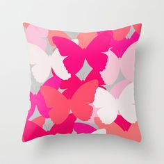 Pillow with pink, red and white butterfly art. Butterfly Kisses by Ornaart  #throwpillow