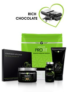 Get all the body-refining, fat-fighting powers of the Skinny Pack plus the superior nutrition of Greens™ and Ultimate ProFIT™!  Includes: 4 Ultimate Body Applicators (1 box with 4 applications), 1 Defining Gel (6.0 fl. oz), 1 Advanced Formula Fat Fighter with Carb Inhibitors (60 Tablets), 1 Greens (alkalizing drink powder, approximately 30 servings), 1 Ultimate ProFIT (advanced superfood nutrition - rich chocolate flavor, approximately 30 servings)