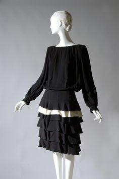 Designed by James Galanos c. 1970s-80s of black and white silk crepe  - Philadelphia Museum of Art