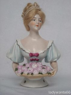 SUPERB ANTIQUE LARGE GALLUBA & HOFMANN PIN CUSHION HALF DOLL WITH MOHAIR WIG