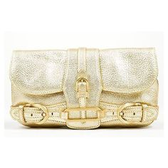 Pre-Owned Jimmy Choo Gold Metallic Leather Top Flap Small Convertible... ($260) ❤ liked on Polyvore featuring bags, handbags, clutches, multi, genuine leather purse, convertible clutch, evening bags, leather hand bags and hand bags